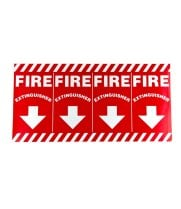 "Universal 472E1108  - White on Red Wrap Around Fire Extinguisher Adhesive Label with Arrows - 24 1/2"" x 12"""