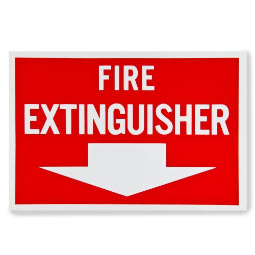 Universal  472E1103 - White on Red Fire Extinguisher Adhesive Label with Arrow - 12