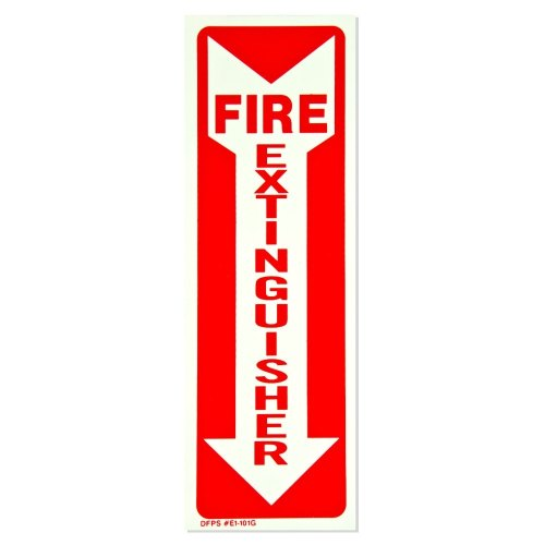 Universal  472E1101G  - White on Red Glow-in-the-Dark Fire Extinguisher Adhesive Label with Arrow - 4