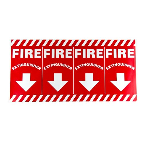 Universal  472E1108  - White on Red Wrap Around Fire Extinguisher Adhesive Label with Arrows - 24 1/2
